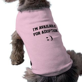 Estoy disponible para la adopción playera sin mangas para perro