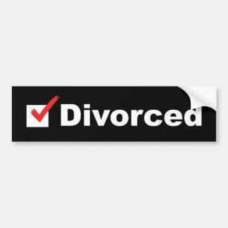 Estoy divorciado y disponible pegatina para auto