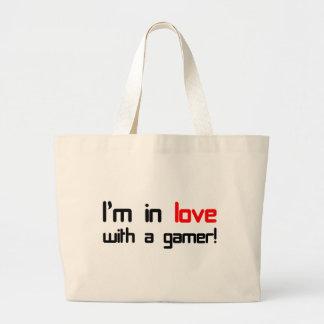 Estoy en amor con un videojugador bolsa tela grande