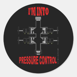 Estoy en el control de presión, cable metálico, pegatina redonda