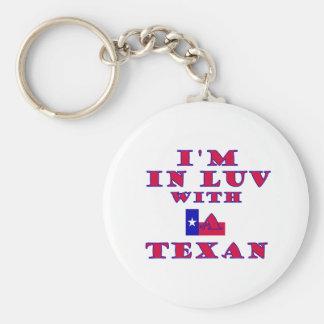 Estoy en Luv con un Texan Llavero Redondo Tipo Pin