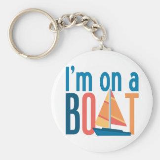 Estoy en un barco llavero redondo tipo pin