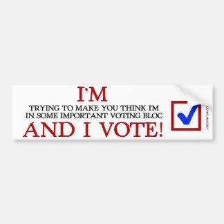 ¡Estoy en un bloque de votación importante y voto! Pegatina Para Auto