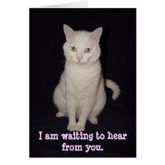 Estoy esperando para oír de usted tarjeta de felicitación