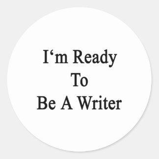 Estoy listo para ser escritor pegatina redonda