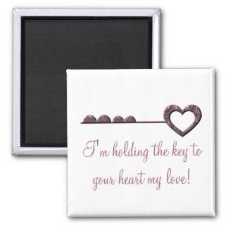 ¡Estoy llevando a cabo la llave a su corazón mi Imán Cuadrado