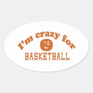 Estoy loco para el baloncesto calcomania de óval personalizadas