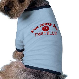 Estoy loco para el Triathlon. Camiseta Con Mangas Para Perro