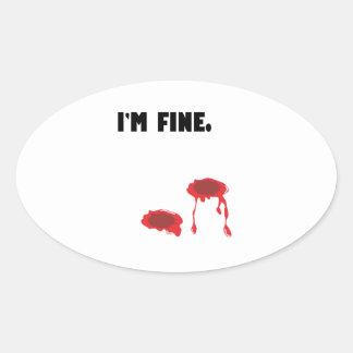 Estoy muy bien.  Agujeros y sangre de bala Pegatina Ovalada