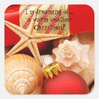 Estoy soñando con navidad caliente de un tiempo pegatina cuadrada