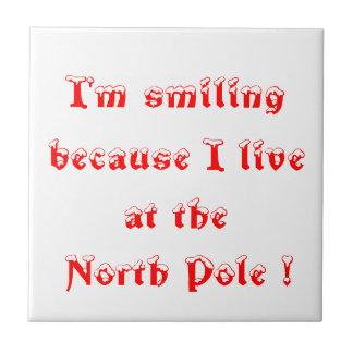 ¡Estoy sonriendo porque vivo en el Polo Norte! - Azulejo Cuadrado Pequeño