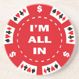 Estoy todo en ficha de póker roja posavasos diseño