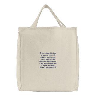 Estoy utilizando este bolso para ahorrar un árbol bolsa bordada