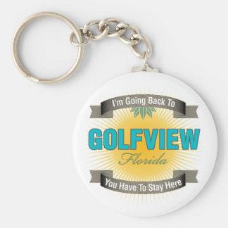 Estoy volviendo a (Golfview) Llavero Redondo Tipo Pin