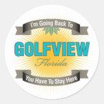 Estoy volviendo a (Golfview) Pegatina Redonda