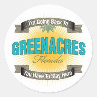 Estoy volviendo a (Greenacres) Etiqueta Redonda