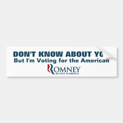 Estoy votando al americano etiqueta de parachoque