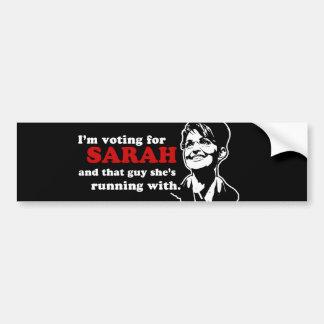 Estoy votando por el bumpersticker de Sarah Pegatina Para Auto