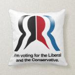 Estoy votando por el liberal y el conservador almohada