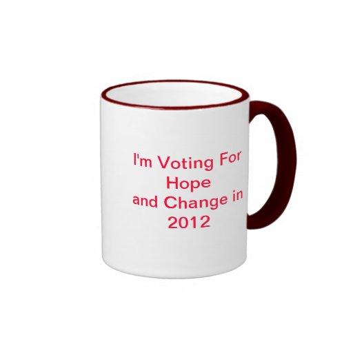 Estoy votando por esperanza y cambio en 2012 la taza a dos colores