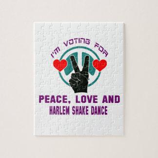 Estoy votando por paz, amor y danza de la sacudida puzzle con fotos