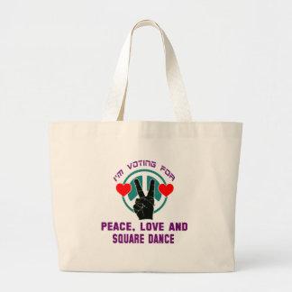 Estoy votando por paz, amor y square dance bolsa tela grande