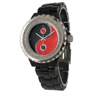 Estrás aleación de esmalte negra Yin Yang Negro/Ro Relojes De Pulsera
