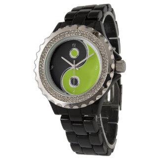 Estrás aleación de esmalte negra Yin Yang Negro/Ve Reloj