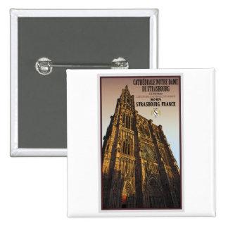Estrasburgo - catedral Notre Dame Pin Cuadrada 5 Cm
