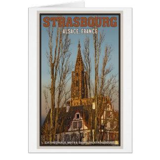 Estrasburgo - catedral y árboles tarjeta de felicitación