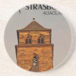 Estrasburgo - puesta del sol de la iglesia posavasos personalizados