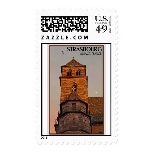 Estrasburgo - puesta del sol de la iglesia sello