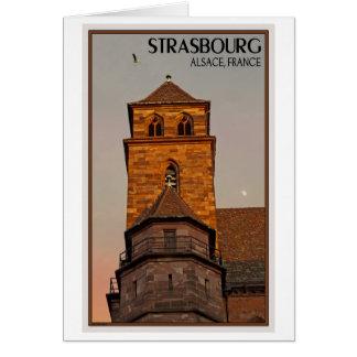 Estrasburgo - puesta del sol de la iglesia tarjeta de felicitación