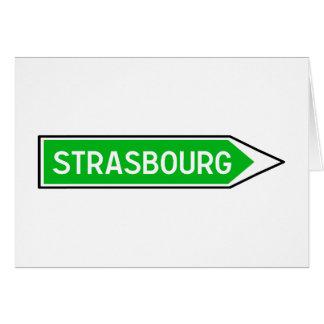 Estrasburgo, señal de tráfico, Francia Tarjeta De Felicitación