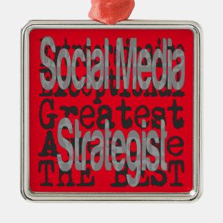 Estratega social de los medios Extraordinaire Adorno Navideño Cuadrado De Metal