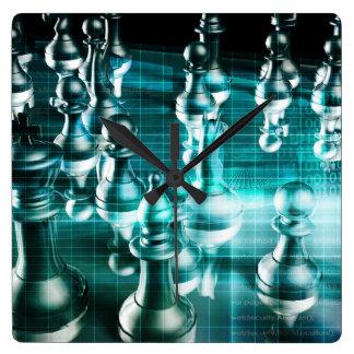 Estrategia empresarial con un concepto del tablero reloj cuadrado