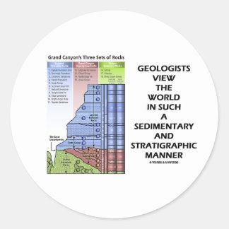 Estratigráfico sedimentario del mundo de la pegatina redonda