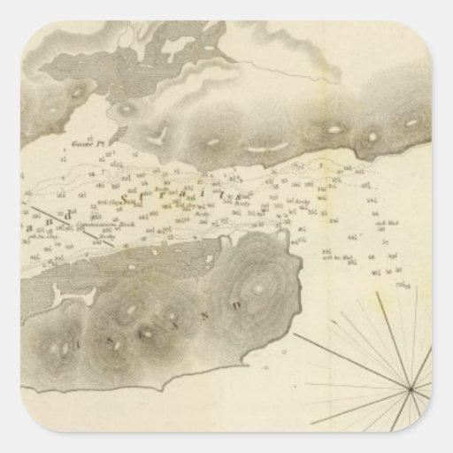 Estrechos de la isla de la yegua, Calif Calcomanía Cuadrada