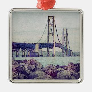 Estrechos de Mackinac Adorno Navideño Cuadrado De Metal