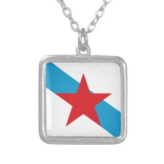 Estreleira - Bandera Independentista Gallega Silver Plated Necklace