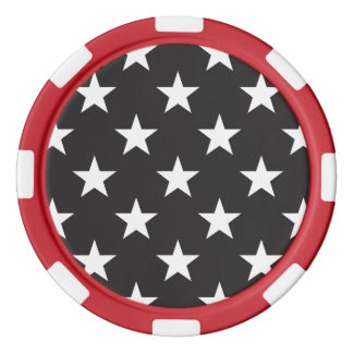 Estrella 1 blanco y negro juego de fichas de póquer
