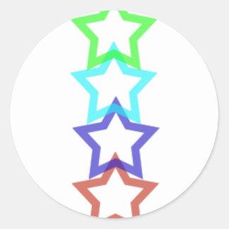 estrella 4 pegatina redonda