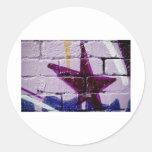 Estrella abstracta de la pintada en la pared pegatinas redondas