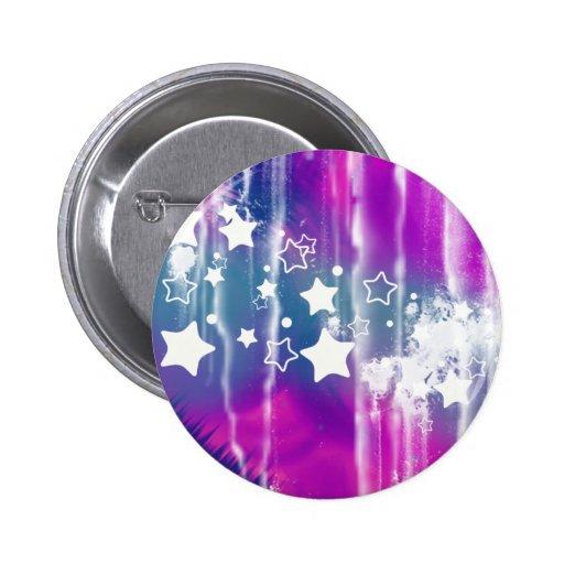 Estrella abstracta púrpura azul femenina pin redondo 5 cm