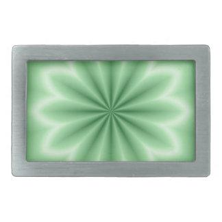 Estrella abstracta verde hebilla cinturon rectangular