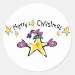 Estrella acogedora de las Felices Navidad Pegatina Redonda