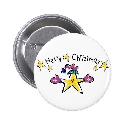Estrella acogedora de las Felices Navidad Pin