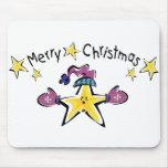 Estrella acogedora de las Felices Navidad Alfombrillas De Ratones