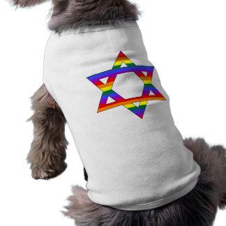 Estrella adaptable del arco iris del orgullo gay d playera sin mangas para perro