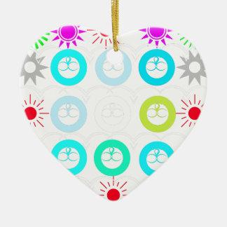 estrella adorno navideño de cerámica en forma de corazón
